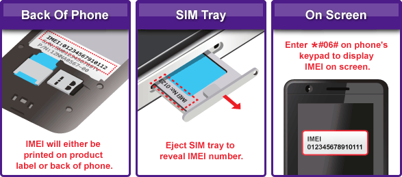 To find your IMEI code, detach the battery and look at the IMEI field on the phone.